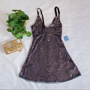 Free People | Gold Rush Mini Dress Sequin Black M